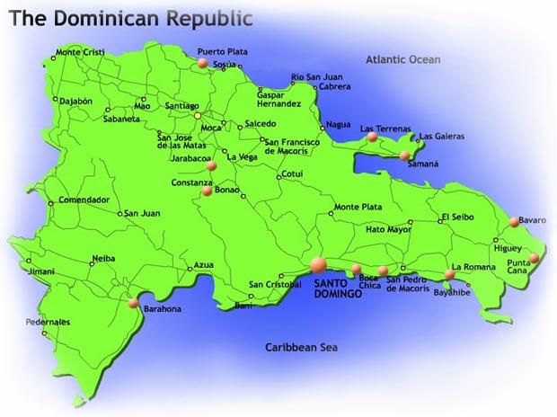 Map of the Main touristic zones in Dominican Republic